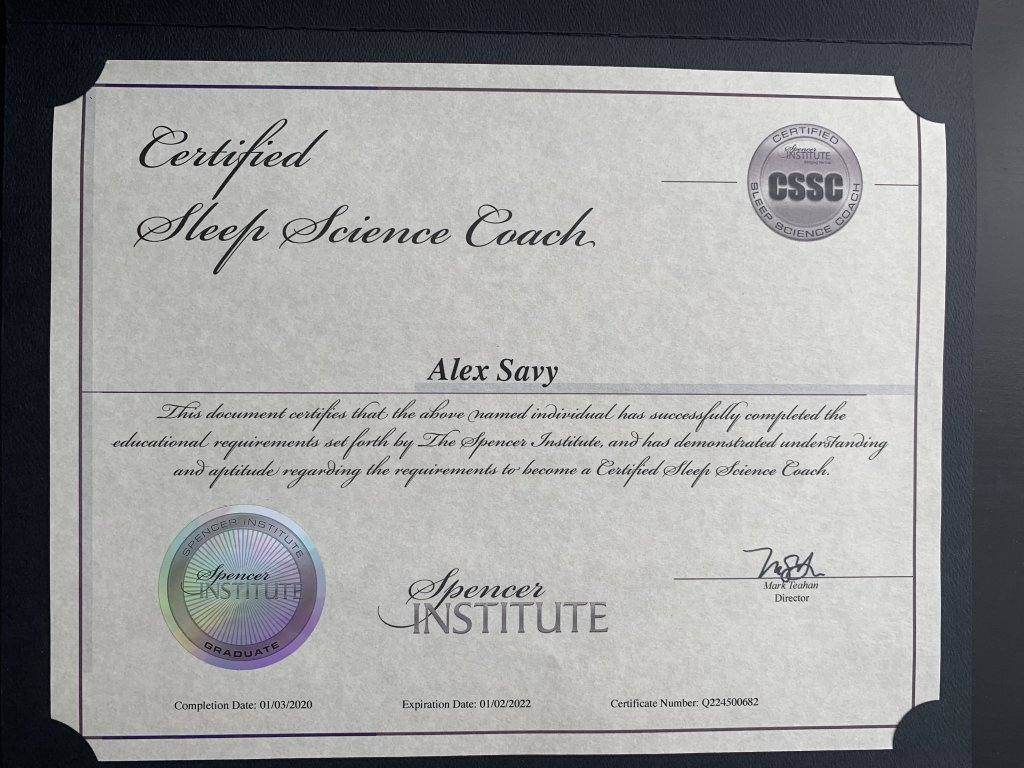 Sleep Science Coach Certificate for Alex Savy